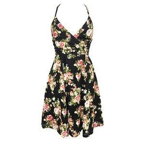 Lace Up Open Back Floral A Line Dress - Juniors S